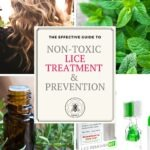 "A woman's hair, peppermint leaves, rosemary leaves with essential oils container and lice prevention kit with title ""non-toxic lice treatment & prevention"""