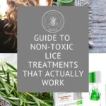 "Pretty hair, rosemary, essential oils and box with non-toxic lice treatment and text reads ""Guide to non-toxic lice treatments that actually work"""