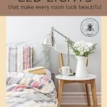 Pin that reads How to buy sustainable LED lights that make every room look beautiful with picture of bedside table and lamp
