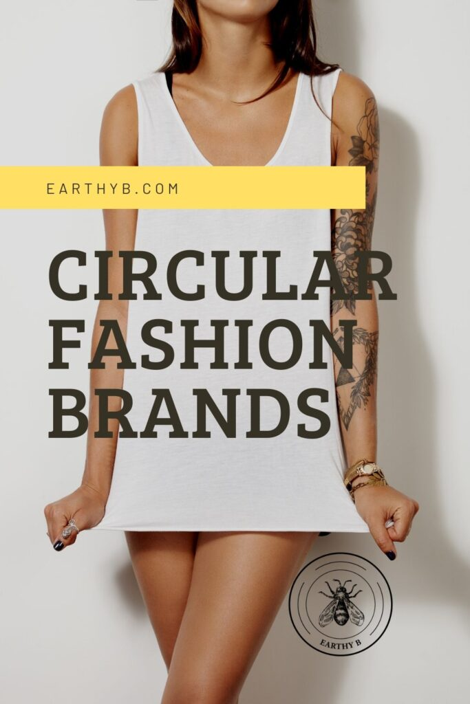 woman wearing white top with text that reads circular fashion brands