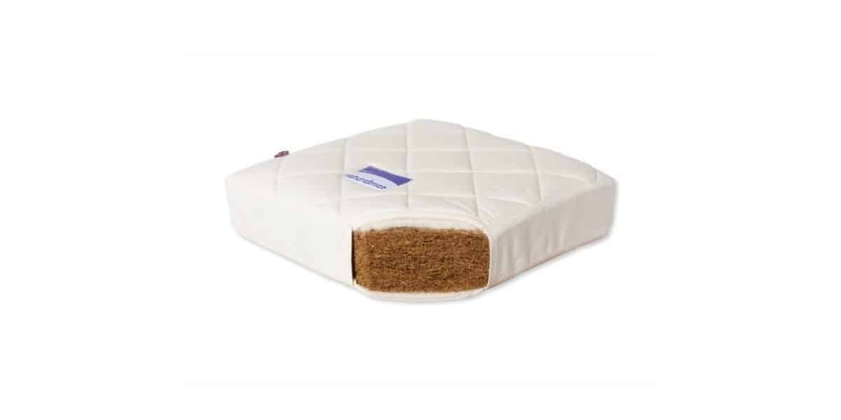 NaturalMat mattress cut open to show natural material used inside.