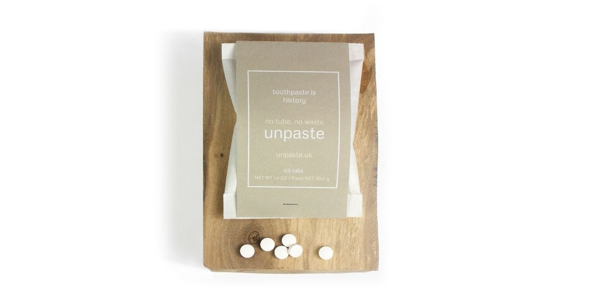No plastic tub toothpaste tablets by Well Earth Goods.