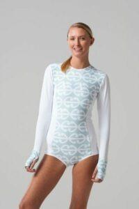 Sustainable swimwear brand white long sleeved Koru Surf Suit