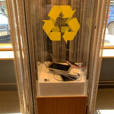 Cell phone recycling at Telia mobile phone store