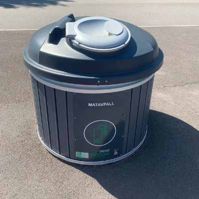 Swedish recycling pods at apartment complex