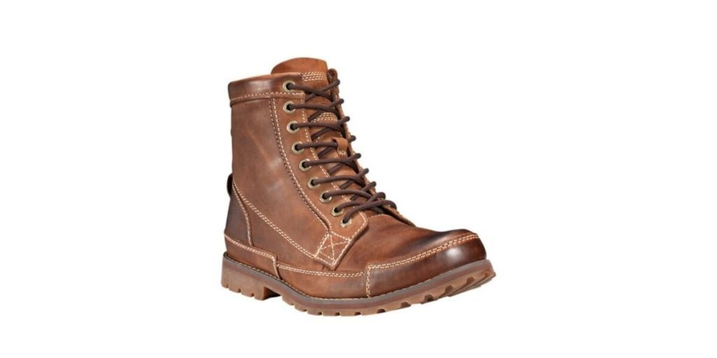 Timberland Earthkeeper boots made with recycled tires and other sustainable materials.