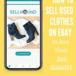 Pinterest pin with SellHound app open in smartphone