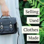 "Woman in dress with handbag and text that reads ""selling used clothes made easy"""