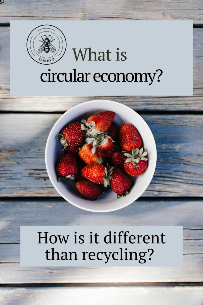 "Bowl of strawberries on aged wooden planks with text that reads ""What is circular economy"" and ""How is it different than recycling?"""