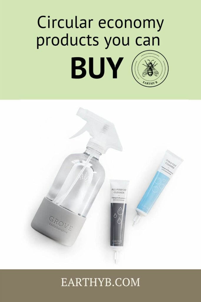 """Grove Collaborative concentrated cleaning pouches with glass spray bottle with text that reads """"circular economy products you can buy"""""""