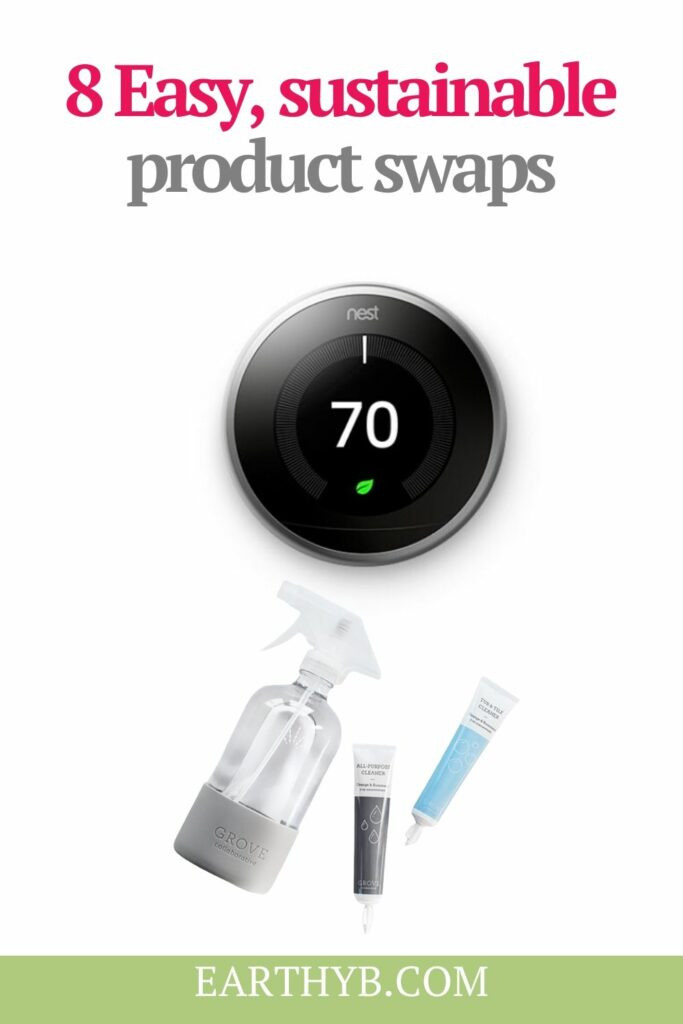 """Nest Smart Thermostat and Grove Collaborative cleaning pods with text overlay that reads """"8 Easy, sustainable product swaps"""""""