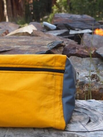 Patagonia fanny pack made from upcycled rain jackets