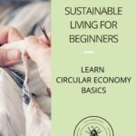 sustainable living for beginners pin with image of hands sewing