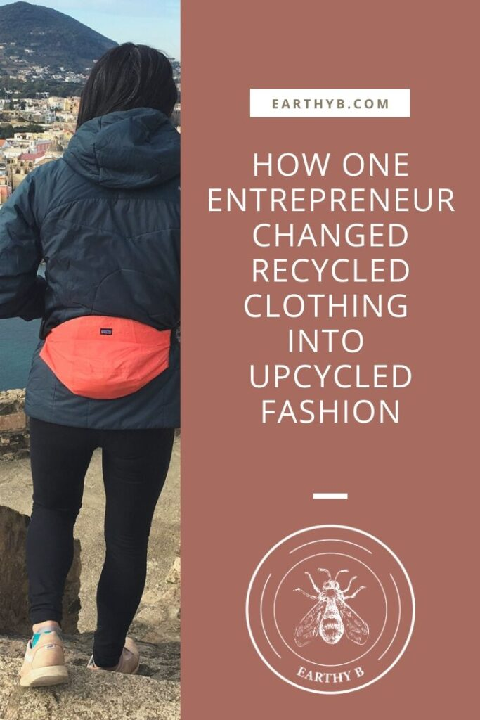 Woman wearing upcycled Fannie back overlooking town with text that reads How one entrepreneur changed recycled clothing into upcycled fashion.
