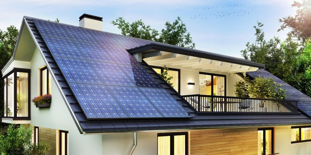 Solar PV panels on a sustainable home
