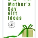 Pin that read Sustainable gift ideas for Mother's Day with image of a gift wrapped in green ribbon