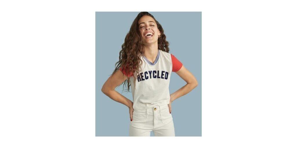 "ReSpun T-Shirt that reads ""Recycled"" by circular fashion brand Marine Layer"