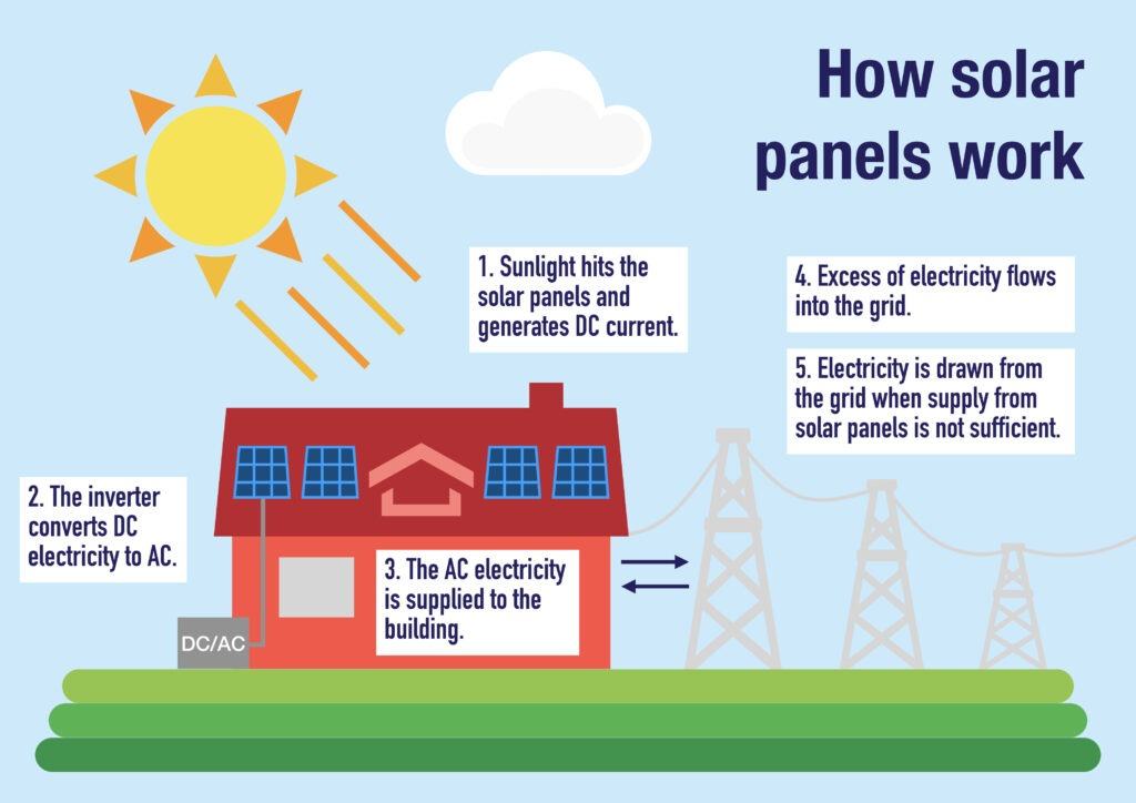 How solar panels work infographic.