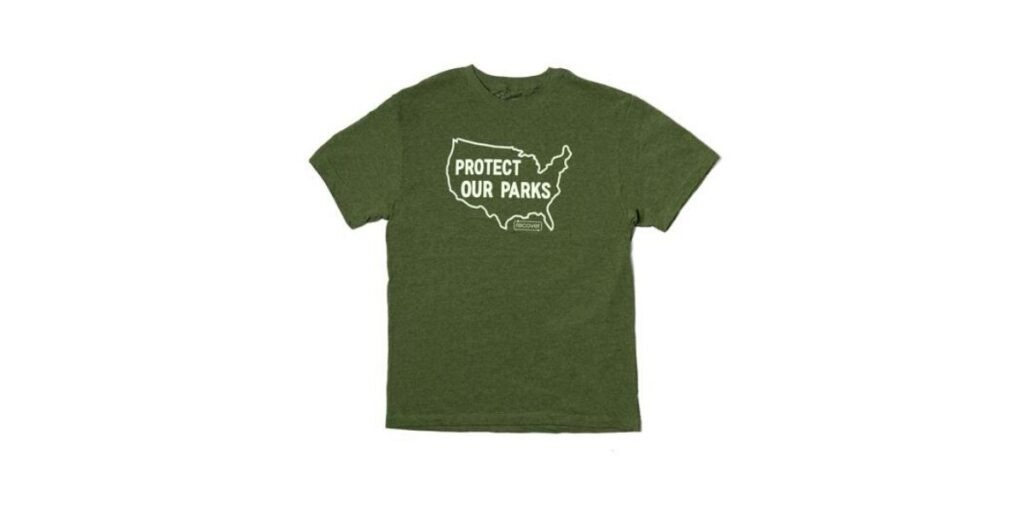 "T-Shirt that reads ""Protect our Parks"" from circular fashion brand Recover Brands"