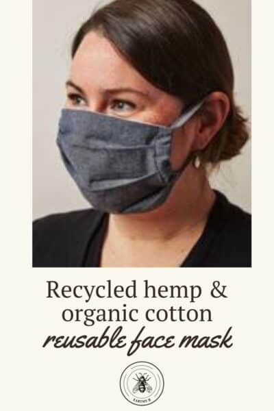 Woman wearing MadeTrade reuseable face mask made sustainably