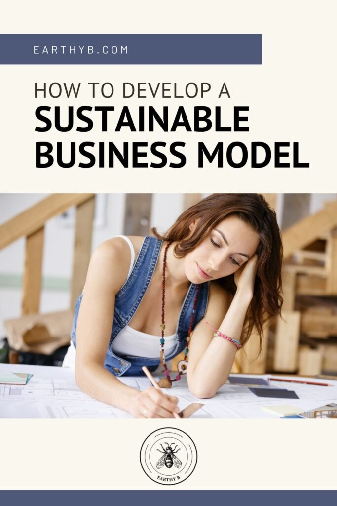 Pin with woman writing about how to develop a sustainable business model