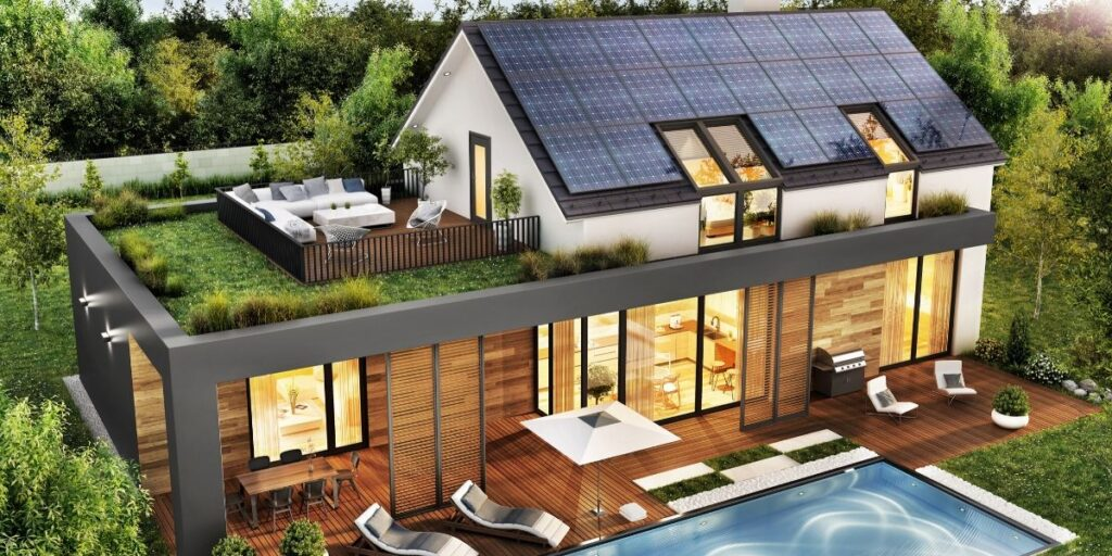 sustainable home with solar panels that's going electric