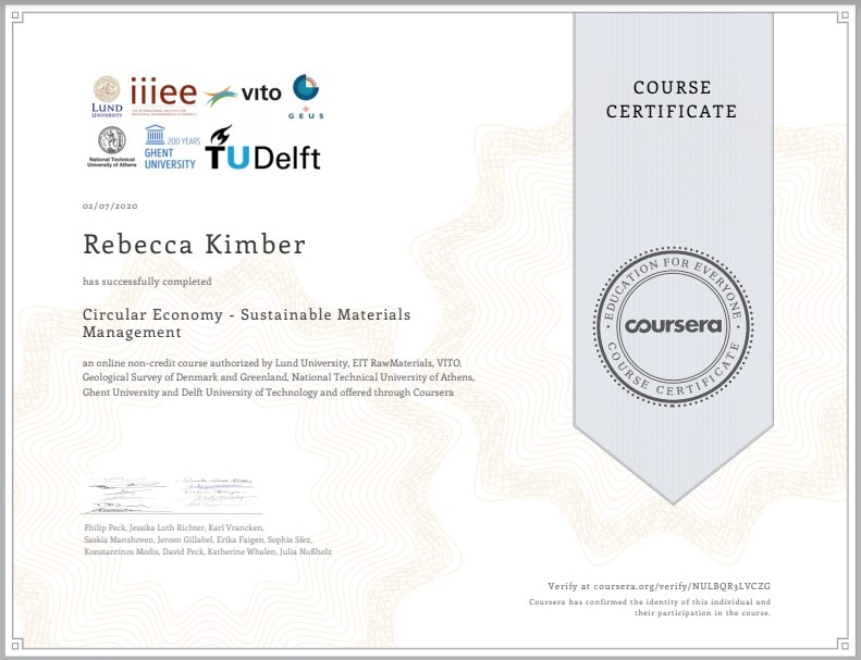 Circular Economy - Sustainable Materials Management Course Certificate.