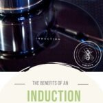 """Pin with image of induction cooktop with text that reads """"the benefits of an induction range"""""""