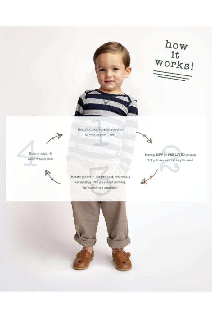 Little boy wearing sustainable clothes with arrows showing how to keep those clothes inside a constant loop by renting kids clothes from Borobabi