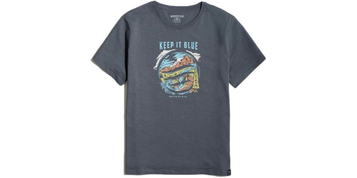 """Sustainable t-shirt by United By Blue with a design that says """"Keep it Blue"""""""