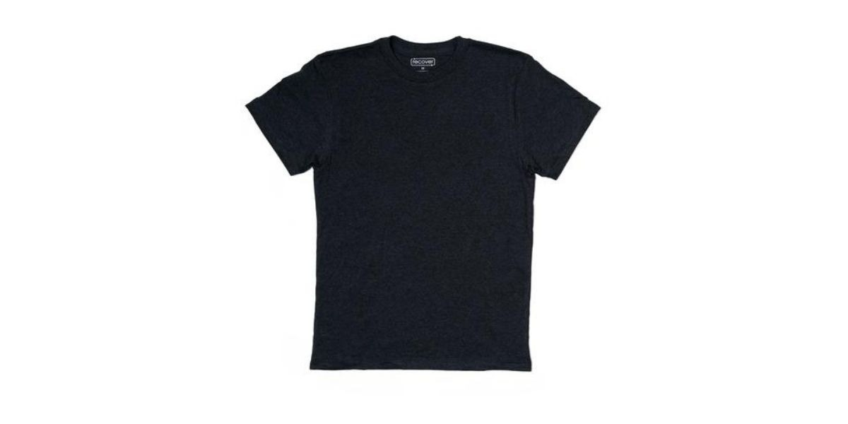 Sustainable t-shirt made with recycled materials like plastic bottles by Recover Brands.