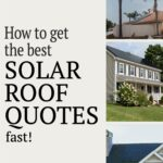 """Pinterest pin with three homes with solar roof systems and text that reads """"How to get the best solar roof quotes fast!"""""""