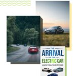 "Pinterest pin with image of electric cars and the book ""The Arrival of the Electric Car"""