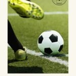 """Soccer player kicking soccer ball on field with text overlay that reads """"how one soccer star brought sustainability to her team"""""""