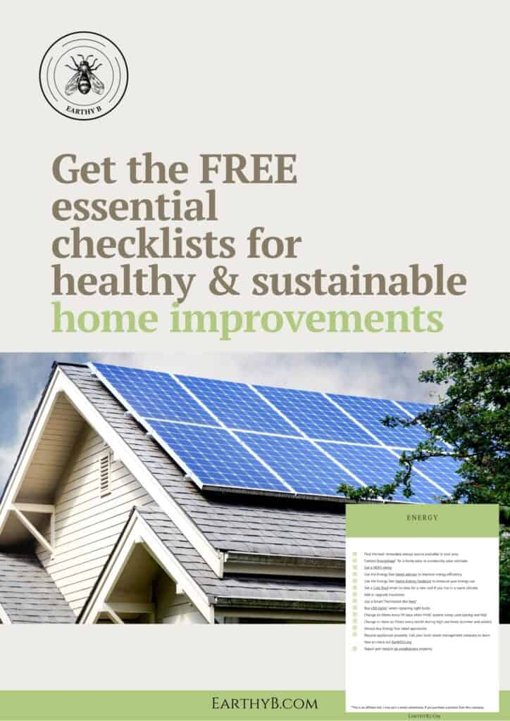 Free essential checklists for healthy & sustainable home improvements with image of solar panels on roof