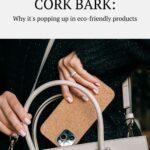 Woman's hand putting cork bark phone case into purse