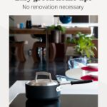 """Pot on induction cooktop with text that reads """"Easy green home tips"""""""