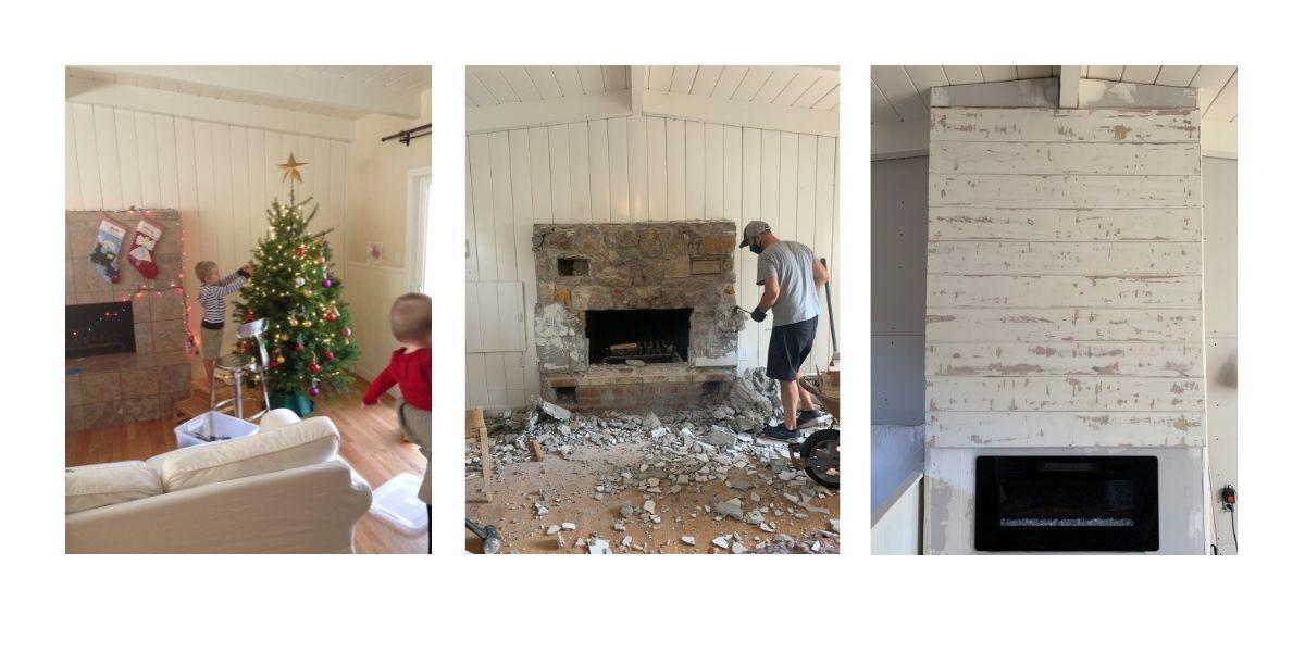 Wood burning fireplace, demolishing wood burning fireplace, new electric fireplace insert with shiplap around it.