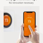 """Orange smart thermostat with text that reads """"Easy Green Home Tips, no renovation necessary"""