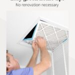 """Man changing HVAC filters with text that reads """"Easy green home tip, no renovation necessary"""""""
