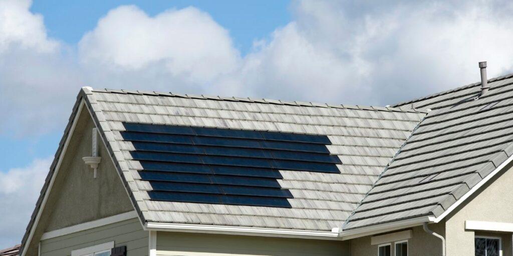Solar tiles on light gray roof