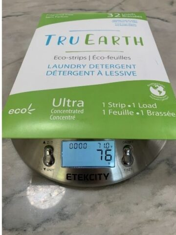 TruEarth laundry strips on a food scale